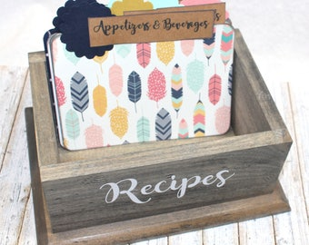 Rustic Recipe Box / Feather Recipe Dividers / Barnwood Recipe Box / BoHo Recipe Box / Recipe Box and Dividers / Recipe Cards / Navy / Gold