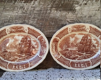 "Vintage SET OF 2 PLATTERS, Alfred Meakin, Fairwinds, Brown Transerware, England, 12"" x 9 3/4"", Serving, Oval, Holiday, Entertaining"