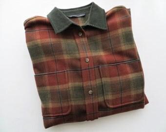 90s Bianca Nygard Shirt Plaid Button Down Unisex Women's Medium Large Oversized Boyfriend Shirt Made in Canada