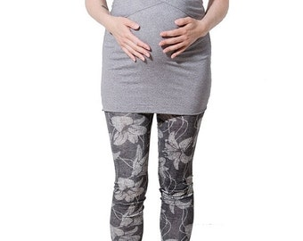 ON SALE Grey Flowers Cotton Maternity Leggings