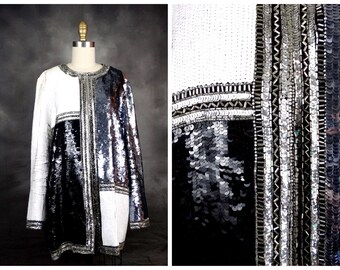 GLAM Art Deco Sequin Open Top / Black White Silver Beaded Sequined Evening Jacket by Oleg Cassini Black Tie