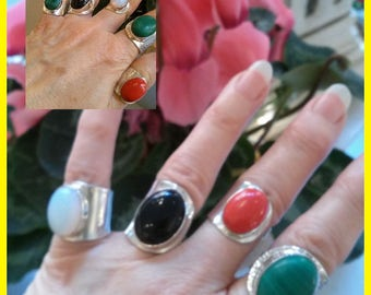 Rings Awesome Sterling Silver open Rings with Rhodonite,Chalcedony,Raw Emerald ,Raw Blue Sapphire ,Quartz,Malachite ,Moonstone, Adjustable