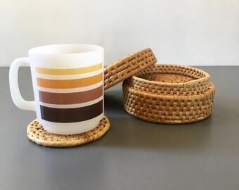 vintage straw woven coaster set boho