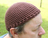 Lightweight Brown Cotton Crochet Hat, Short Stack Hat, Beanie Hat, Kufi Hat, Skull Cap, Chemo Cap, Bald Head Cover, Helmet Liner, Indoor Hat