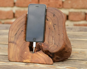 One of kind gift, Wood iPhone Docking Station, Phone Holder, Rustic iPhone Stand, Wood Tech Gift, Dock, Charging Station, Unique Wood Stand