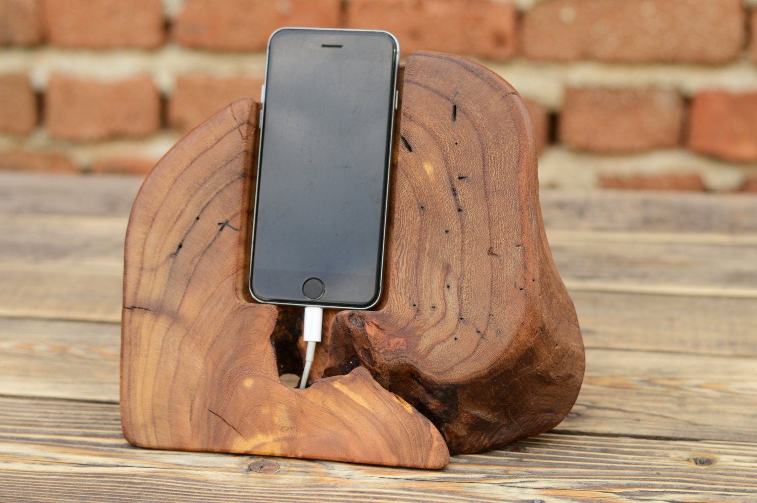 Wooden Phone Stand ~ One of kind gift wood iphone docking station phone holder