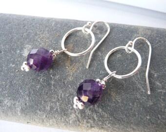 Hoop with faceted amethyst sterling silver earrings