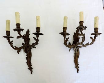 Antique French 3 arm, three branch, bronze sconces, a pair of wall lights