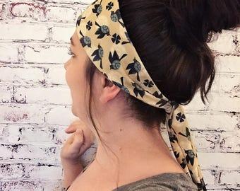 NEW! Tie-Back Headband - Blackbirds - Yellow - Yoga Headband - Boho Headband - Eco Friendly Fabric