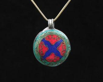 Rustic Tibetan Pendant Tribal Gemstone Jewelry with Chain