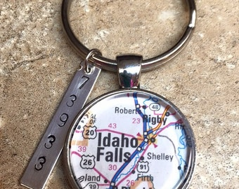 Map keychain etsy custom map keychain custom keychain fathers day gift gift for dad map sciox Images