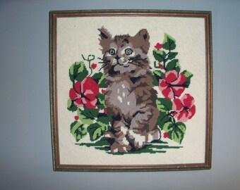 Vintage Handmade Framed Cross Stitch Kitten Cat Wall Art Kitty Feline