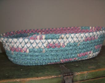Vintage Handmade Coil Basket Country Teal Pink Baby's Room