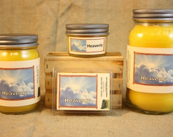 Heavenly Scented Candle, Heavenly Scented Wax Tarts, 26 oz, 12 oz, 4 oz Jar Candles or 3.5 Clam Shell Wax Melts