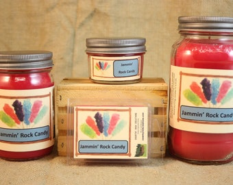 Jammin' Rock Candy Scented Candle, Jammin' Rock Candy Scented Wax Tarts, 26 oz, 12 oz, 4 oz Jar Candles or 3.5 Clam Shell Wax Melts