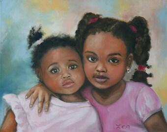 Little sisters - 40x50 cm Original Hand Painted Portrait Oil Painting