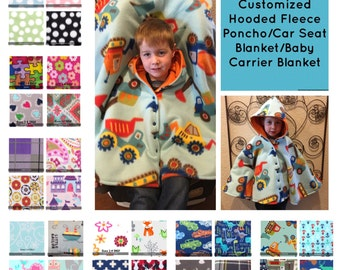 Customized Fleece Hooded Poncho/Car Seat Blanket/Baby Carrier Blanket