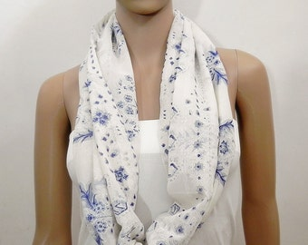 SALE Blue Infinity Scarf White Infinity Scarf- Floral Scarf Printed Scarf Loop scarf Shawl Scarf Tube Scarves Fashion Scarves - Gift for her