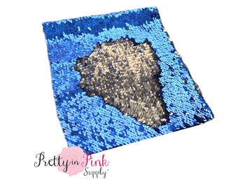 Royal Blue/Silver Changeable Sequin Fabric Sheet-Sequin Fabric Sheet- Fabric Sheet-Fabric -DIY Hair Bows- 1mm Thick