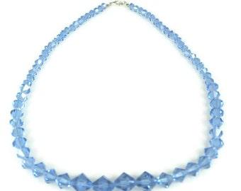 Vintage Blue Crystal Graduated Necklace