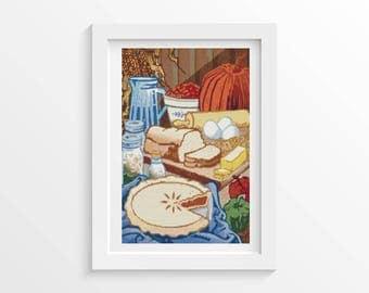 Food Cross Stitch Chart, Ready to Bake Cross Stitch Pattern PDF, Art Cross Stitch, Embroidery Chart (ART009)