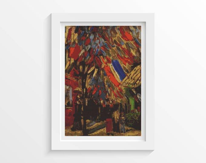 Cross Stitch Pattern PDF, Embroidery Chart, Art Cross Stitch, The Fourteenth of July Celebration in Paris by Vincent Van Gogh (VGOGH28)