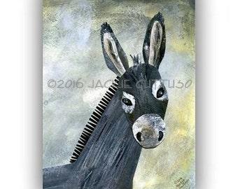 """Donkey art, Giclee print 5 x 7"""", Farm nursery, Whimsical farm animal, Donkey collage, Acrylic donkey painting print, Southwestern decor"""