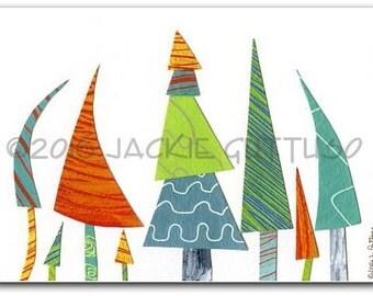 "Colorful tree art, 5 x 7"" Giclee print, Whimsical tree collage, Woodland nursery wall art, Winter kids art, Cabin decor, Christmas trees"