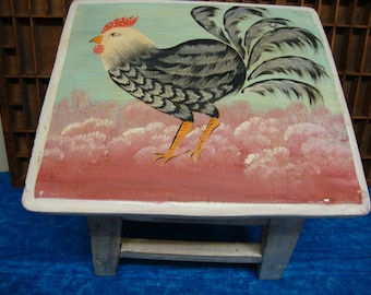Folkart Rooster Handpainted Stool