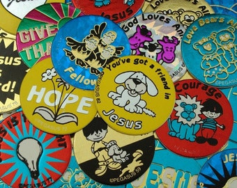 1990s cPEGASUS (79) Seventy-Nine Pogs ~ Christian Themed Pog ~ Game Pieces