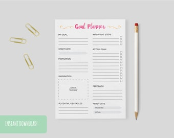 Goal Planner Pink & Yellow Watercolours A4 Interactive and Printable Files Included INSTANT DOWNLOAD