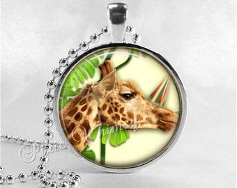 GIRAFFE Necklace, Giraffe Pendant, Giraffe Jewelry, Giraffe Charm, Glass Bezel Photo Art Pendant Necklace, Safari, WIld Jungle Animal