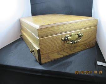 MID-Century  Pre-owned Oak SILVERWARE chest storage box with EXTRA drawer