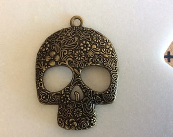 Antique Bronze Vintage Victorian Skull