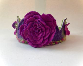 Felted flower Crown.Waldorf.Bithday.Flowers.