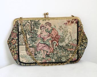 1950s dark tapestry purse // tapestry purse // vintage purse