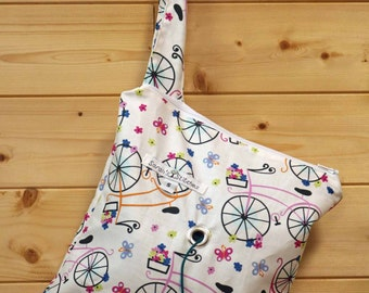 Knitting Bag, Crochet, Knit, Yarn, Wool, Bicycles, Yarn Storage, Yarn Bag with Hole, Grommet, Handle, SYB118