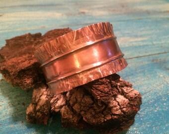 Copper Dual Texture Cuff Bracelet