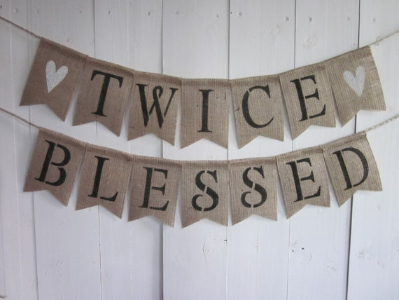 twins baby shower banner twice blessed bunting burlap, Baby shower invitation