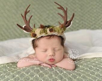 Newborn boy deer headband, boy photo props, deer headband, boy deer, deer hat, deer costume