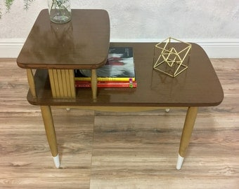 Mid Century Modern end table | nightstand | accent | two tier table