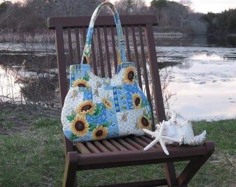 Sunflower and Denim Blue Hobo Bag