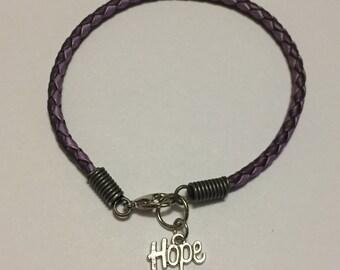 Hope Braided Leather Charm Bracelet