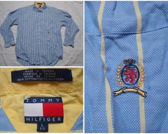 Vintage Retro Men's 90's Tommy Hilfiger Shirt Blue Yellow Stripes Lion Crest Buttonup Long Sleeve Large XL