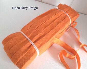 WHOLESALE Skein 50 meters Cotton Tape Orange 1 Arrow Twill Tape Ribbon Herringbone 10 mm Wrapping Binding Tape Bias Tape Craft Supply