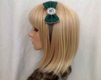Harry potter Slytherin house crest headband hair bow rockabilly psychobilly pin up girl snape hogwarts hufflepuff Ravenclaw geek ladies