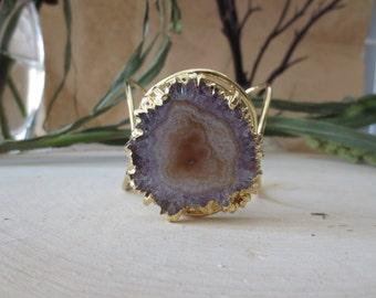 Amethyst cuff, amethyst stalactite cuff, stalactite cuff bracelet, amethyst stalactite gold cuff bracelet, statement cuff bracelet