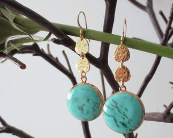 Turquoise earrings, round turquoise earrings, turquoise drop earrings, turquoise dangle earrings, turquoise earrings gold