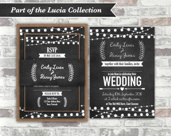 PRINTABLE Digital Files - Lucia Collection - Personalised Wedding Invitation Bundle - Chalkboard Festoon Fairy Lights - 5x7 Digital Files