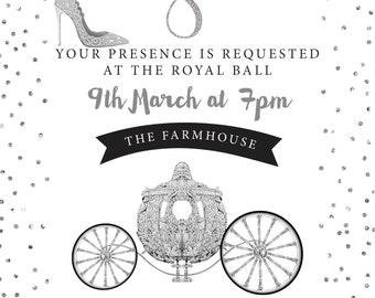 Cinderella Princess birthday invitations printable 18th 21st glitter